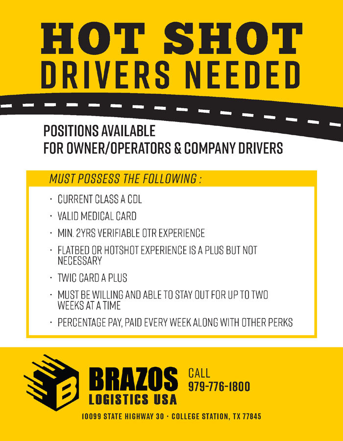 Brazos Moving And Storage - Hot-Shot-Drivers